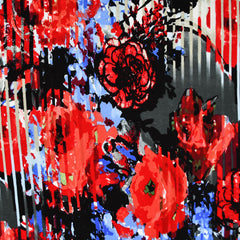 Abstract Watercolor Floral Jersey Knit Red/Blue - Fabric - Style Maker Fabrics