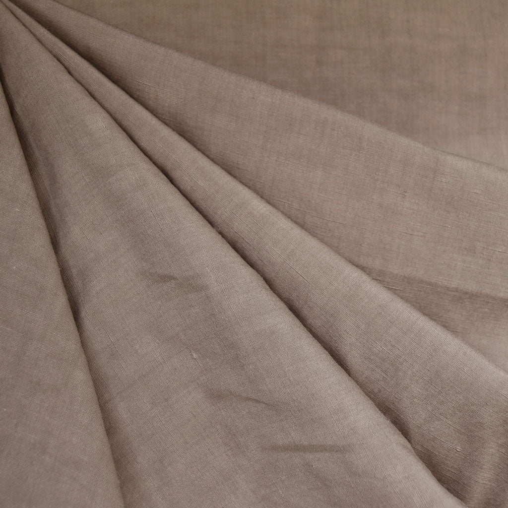 Linen Blend Textured Solid Shirting Taupe SY - Selvage Yard - Style Maker Fabrics