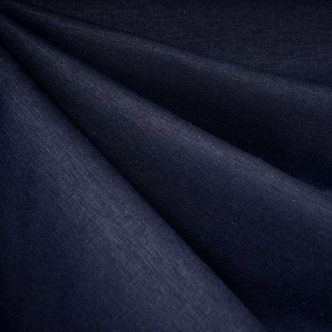 Stretch Linen Blend Shirting Navy
