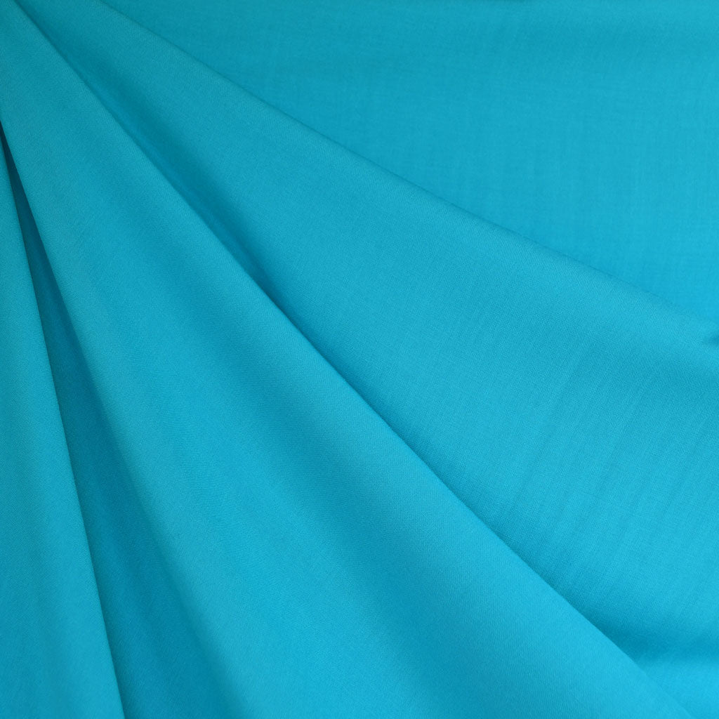 Rayon Batiste Solid Turquoise SY - Selvage Yard - Style Maker Fabrics