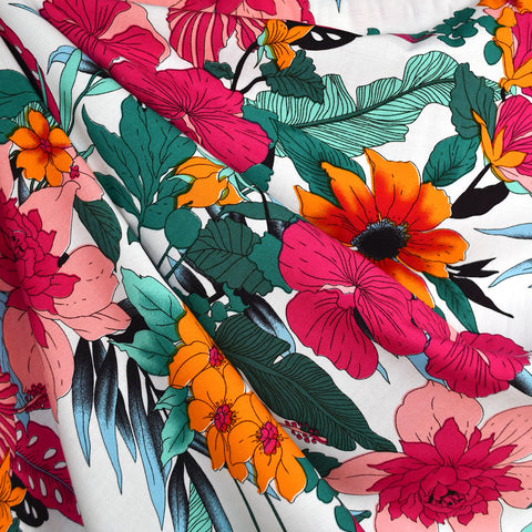 Bright Tropical Floral Rayon Challis White/Multi