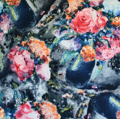 Brushstroke Roses Stretch Taffeta Coating Charcoal - Fabric - Style Maker Fabrics