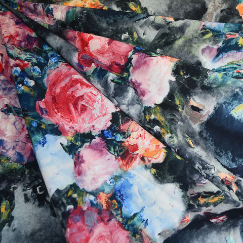 Brushstroke Roses Stretch Taffeta Coating Charcoal
