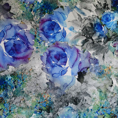 Watercolor Floral Stretch Taffeta Coating Blue - Fabric - Style Maker Fabrics