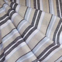 Linen Blend Multi Stripe Shirting Blue/Sand - Fabric - Style Maker Fabrics