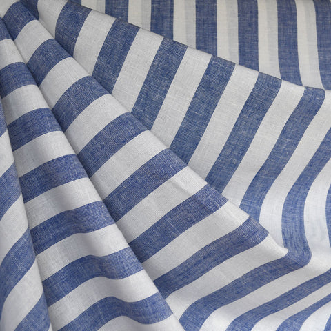 Linen Blend Stripe Shirting Blue/White