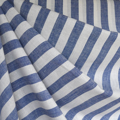 Linen Blend Stripe Shirting Blue/White - Fabric - Style Maker Fabrics