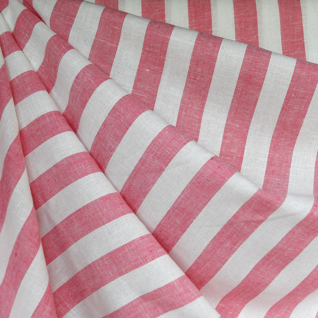 Linen Blend Stripe Shirting Coral/White - Sold Out - Style Maker Fabrics