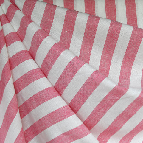 Linen Blend Stripe Shirting Coral/White