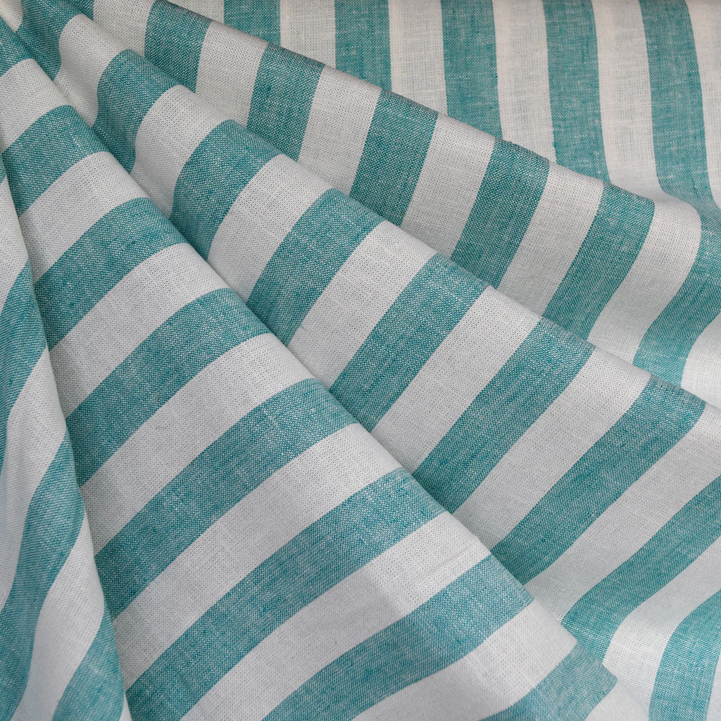 Linen Blend Stripe Shirting Turquoise/White - Fabric - Style Maker Fabrics