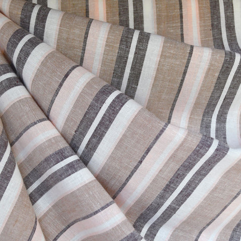 Linen Blend Multi Stripe Shirting Soft Peach/Taupe