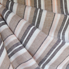 Linen Blend Multi Stripe Shirting Soft Peach/Taupe - Fabric - Style Maker Fabrics
