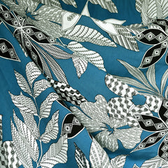 Graphic Tropical Leaves Rayon Challis Teal/Black SY - Sold Out - Style Maker Fabrics