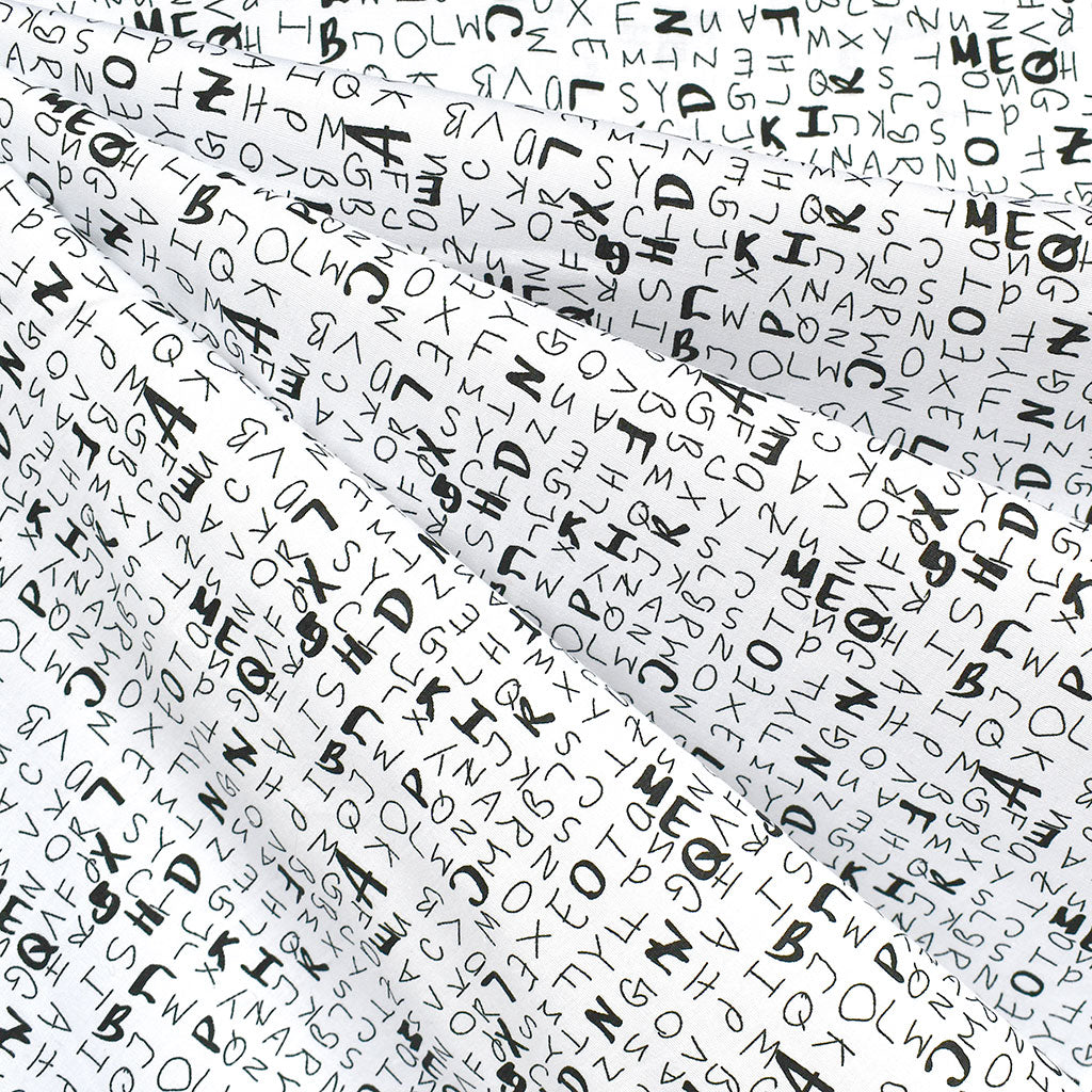 Sketchy Letters Stretch Cotton Shirting White/Black SY - Sold Out - Style Maker Fabrics