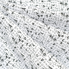 Sketchy Letters Stretch Cotton Shirting White/Black - Fabric - Style Maker Fabrics