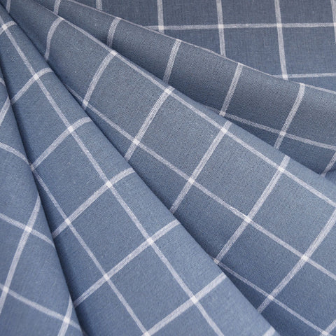 Essex Yarn Dyed Linen Blend Windowpane Chambray