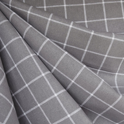 Essex Yarn Dyed Linen Blend Windowpane Grey
