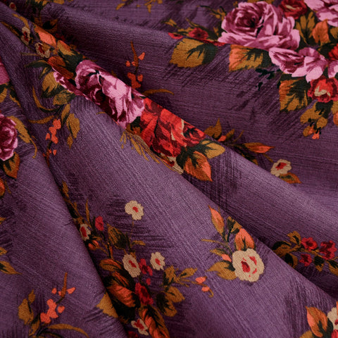 Outback Rose Floral Cotton Barkcloth Plum