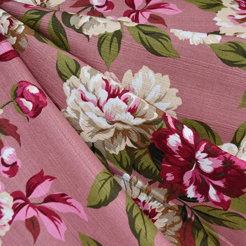 Outback Floral Cotton Barkcloth Rose