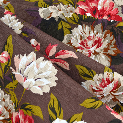 Outback Floral Cotton Barkcloth Chocolate