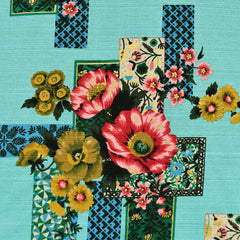 Outback Geometric Floral Cotton Barkcloth Turquoise - Sold Out - Style Maker Fabrics