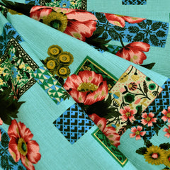 Outback Geometric Floral Cotton Barkcloth Turquoise - Fabric - Style Maker Fabrics