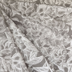 Botanical Floral Outline Stretch Twill Grey/Cream SY - Sold Out - Style Maker Fabrics