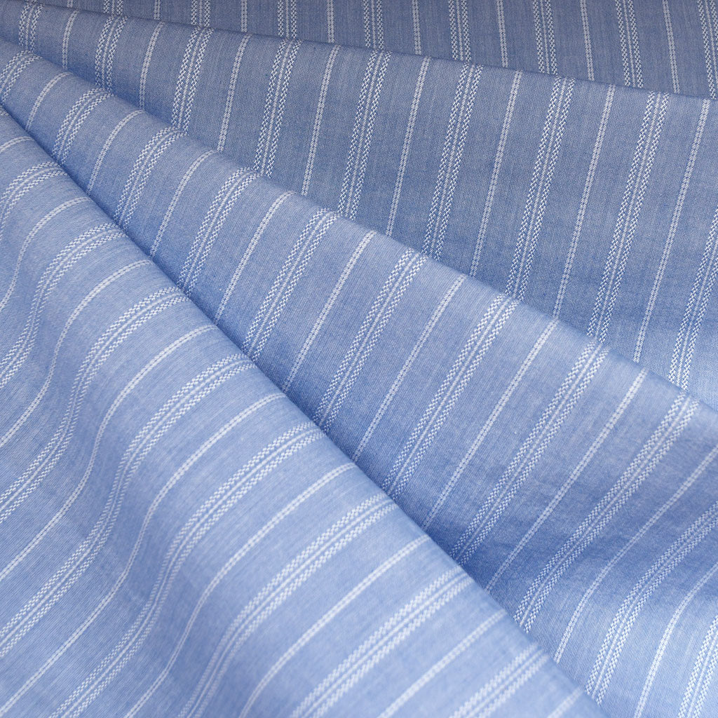 Textured Double Stripe Topanga Shirting Blue SY - Sold Out - Style Maker Fabrics
