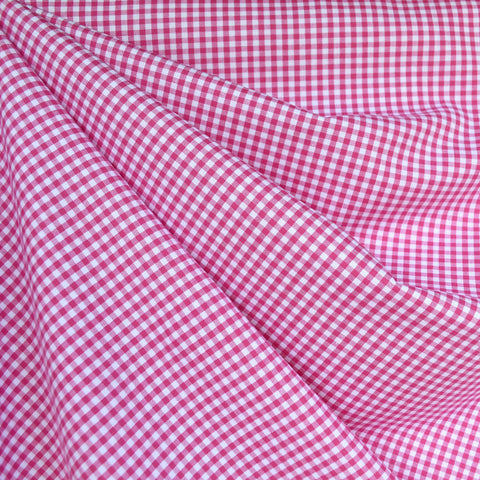 Micro Carolina Gingham Shirting Fuchsia/White