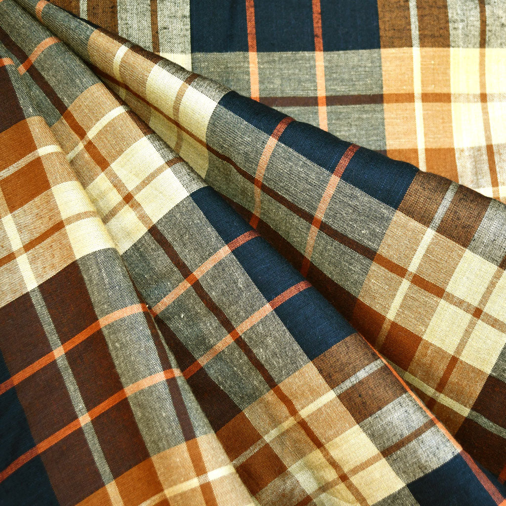 Soft Rayon Plaid Shirting Black/Gold - Sold Out - Style Maker Fabrics