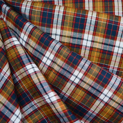 Soft Rayon Plaid Shirting Navy/Mustard