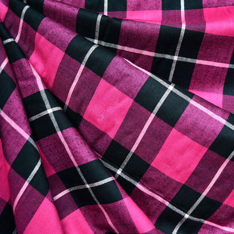 Soft Rayon Plaid Shirting Fuchsia/Black