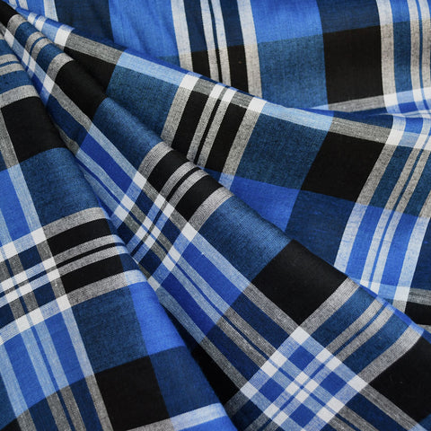 Soft Rayon Plaid Shirting Royal/Black