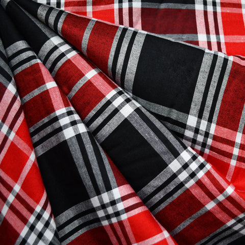 Soft Rayon Plaid Shirting Red/Black