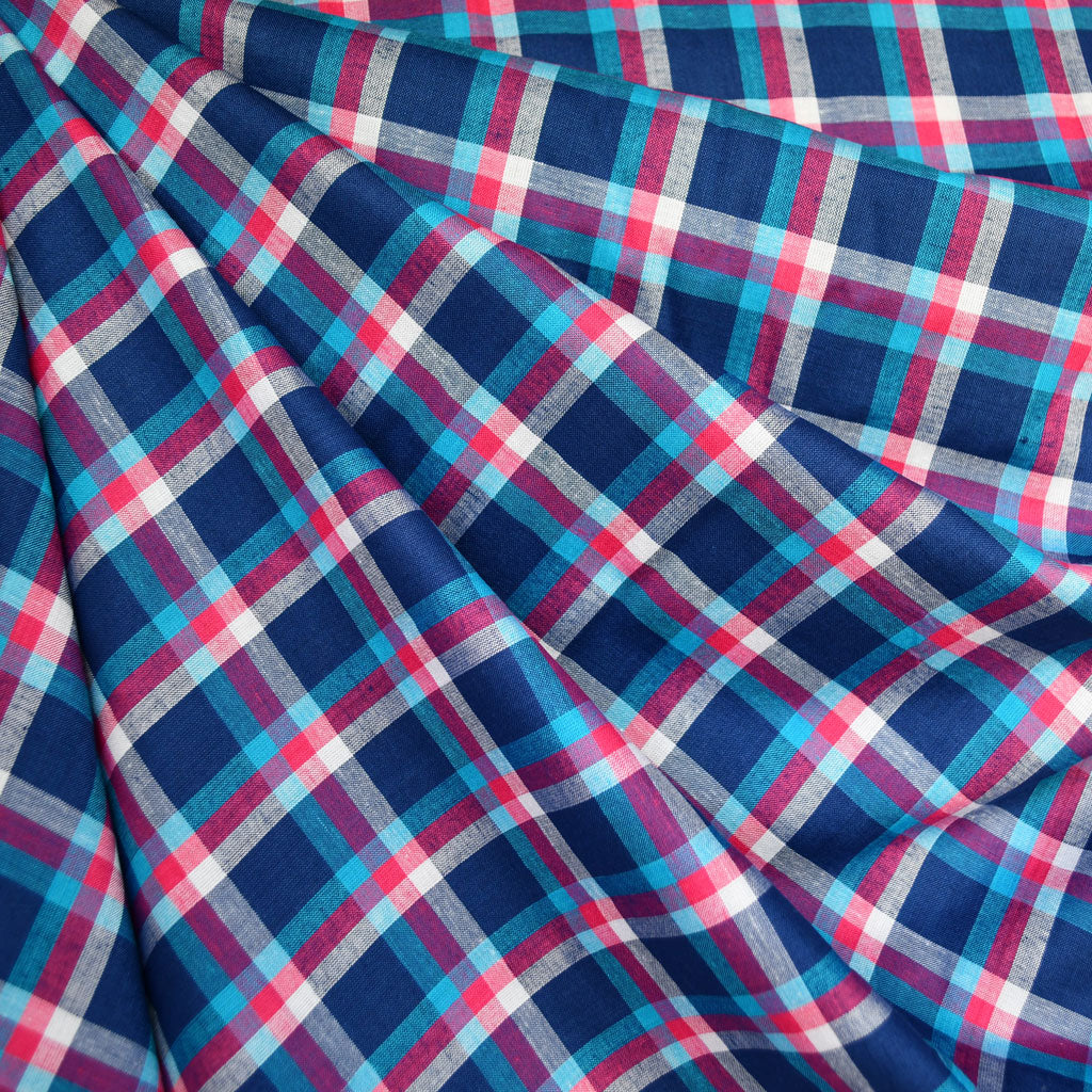 Summer Plaid Rayon Shirting Blue/Pink - Fabric - Style Maker Fabrics