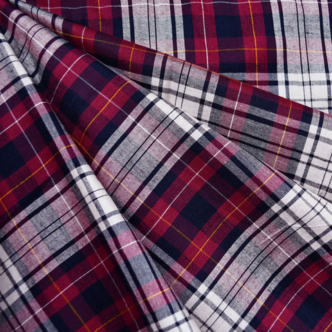 Soft Rayon Plaid Shirting Burgundy/Navy