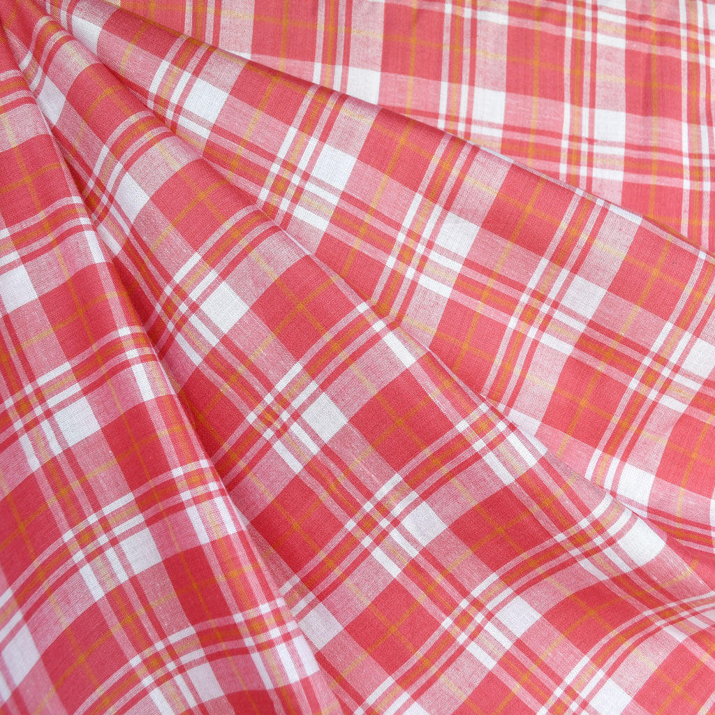Tonal Summer Plaid Rayon Shirting Coral - Fabric - Style Maker Fabrics