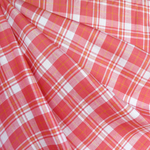 Tonal Summer Plaid Rayon Shirting Coral