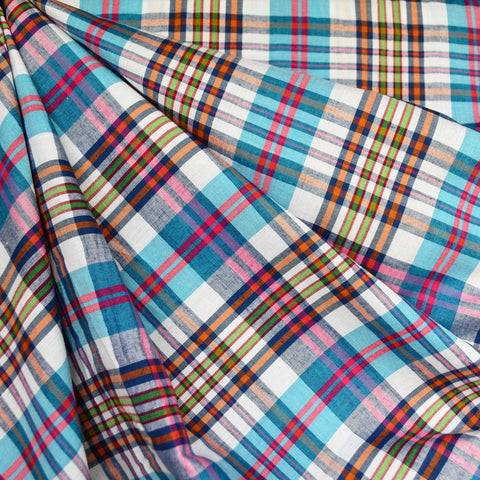 Summer Plaid Rayon Shirting Turquoise