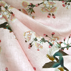Japanese Cherry Blossom Digital Print Linen Shirting Blush - Fabric - Style Maker Fabrics
