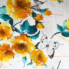 Watercolor Butterfly Floral Digital Print Linen Shirting Yellow - Fabric - Style Maker Fabrics