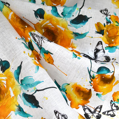 Watercolor Butterfly Floral Digital Print Linen Shirting Yellow