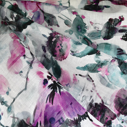 Abstract Floral Digital Print Linen Shirting Plum/Teal