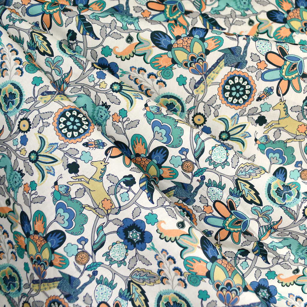 Mythical Forest Liberty of London Tana Lawn Teal - Fabric - Style Maker Fabrics