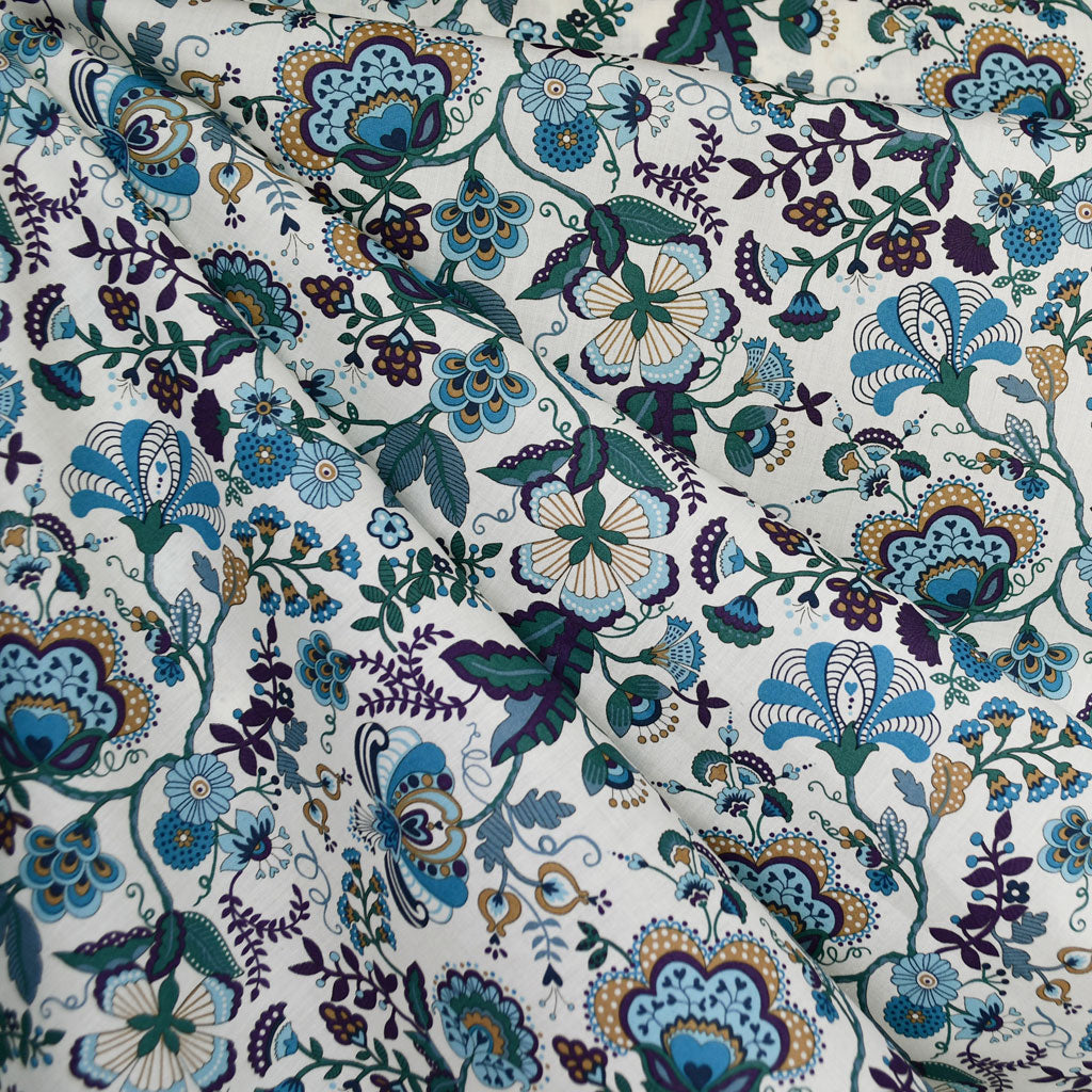 Mabelle Liberty of London Tana Lawn Teal - Fabric - Style Maker Fabrics