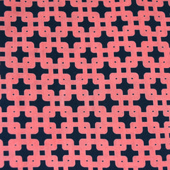 Garden Path Geometric Lawn Coral/Navy - Fabric - Style Maker Fabrics