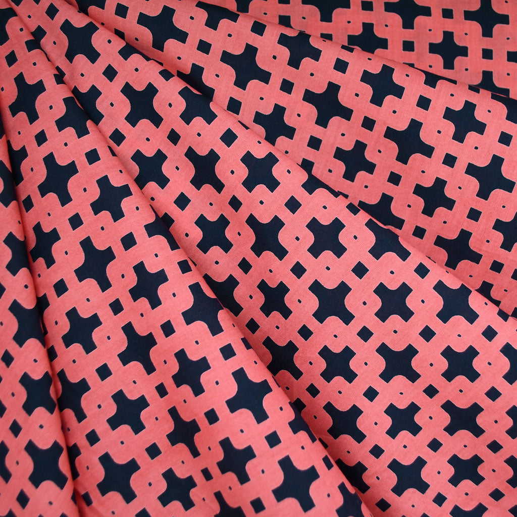 Garden Path Geometric Lawn Coral/Navy SY - Sold Out - Style Maker Fabrics
