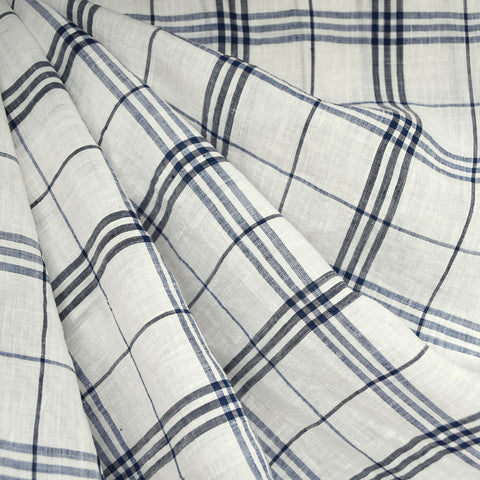 Plaid Handkerchief Linen Shirting Vanilla/Navy