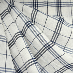 Plaid Handkerchief Linen Shirting Vanilla/Navy - Fabric - Style Maker Fabrics