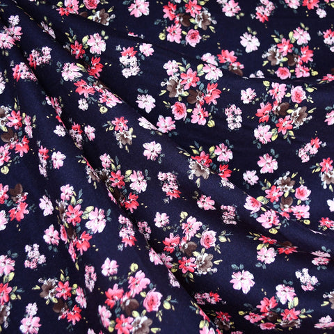 Delicate Floral Rayon Challis Navy/Pink